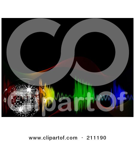 Royalty-Free (RF) Clipart Illustration of a Sparkly Disco Ball With Headphones Over Colorful Equalizer Waves On Black by elaineitalia