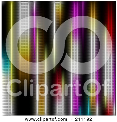 Royalty-Free (RF) Clipart Illustration of a Background Of Vertical Colorful Neon Lights by elaineitalia