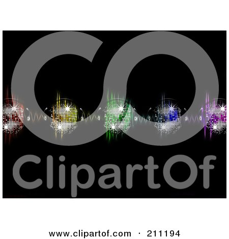 Royalty-Free (RF) Clipart Illustration of a Background Of Sparkly Disco Balls With Headphones Over Colorful Equalizer Waves On Black by elaineitalia