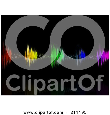 Royalty-Free (RF) Clipart Illustration of a Background Of Colorful Neon Equalizer Waves Over Black by elaineitalia