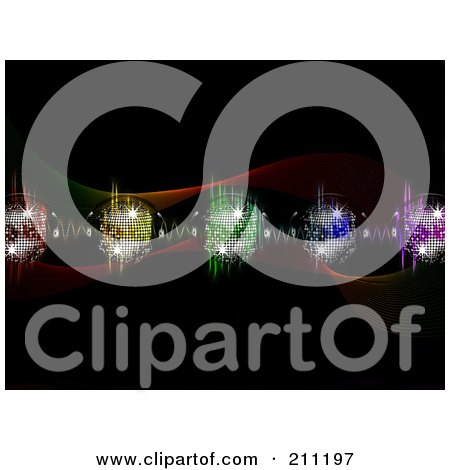 Royalty-Free (RF) Clipart Illustration of a Background Of Colorful Equalizer Waves And Disco Balls With Headphones Over Black by elaineitalia