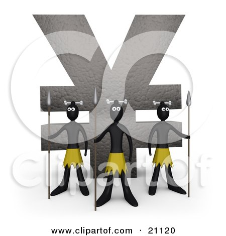 Clipart Illustration of Three Native Guards With Spears, Protecting A Stone Statue In The Shape Of The Yen Symbol by 3poD