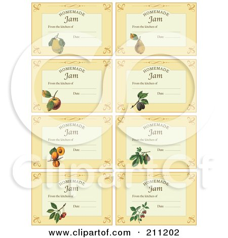 Royalty-Free (RF) Clipart Illustration of a Digital Collage Of Homemade Jam Labels With Date And Text Space by Eugene