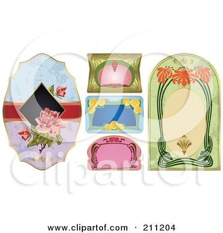 Royalty-Free (RF) Clipart Illustration of a Digital Collage Of Floral And Art Deco Labels by Eugene
