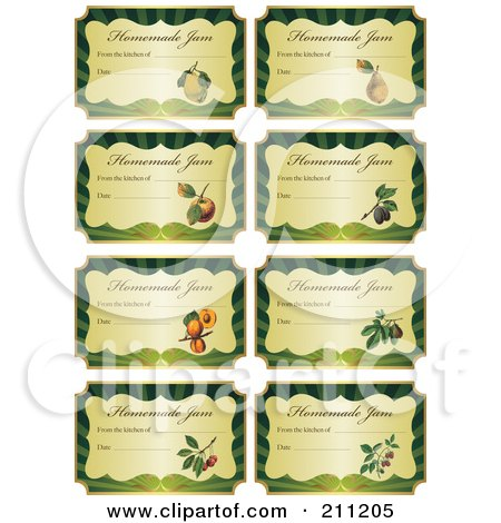 Royalty-Free (RF) Clipart Illustration of a Digital Collage Of Golden And Green Homemade Jam Labels With Text And Date Space by Eugene
