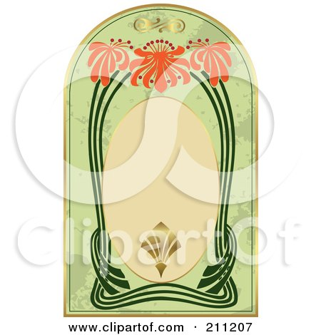 Royalty-Free (RF) Clipart Illustration of a Green, Orange, Gold And Beige Floral Label by Eugene
