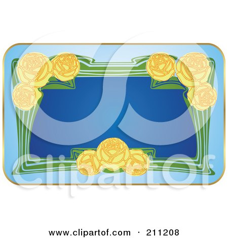 Royalty-Free (RF) Clipart Illustration of a Floral Yellow Rose Label by Eugene