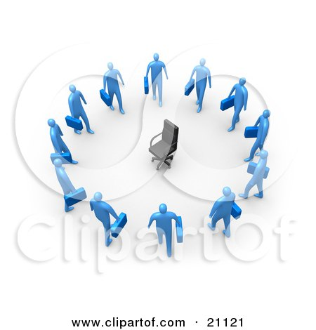 Clipart Illustration of an Empty Chair, Symbolizing Career Opportunities, Surrounded By Blue Business Men Standing In A Circle by 3poD