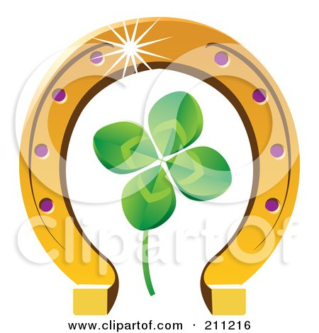 Royalty Free RF Clipart Illustration Of A Four Leaf Clover And Horseshoe