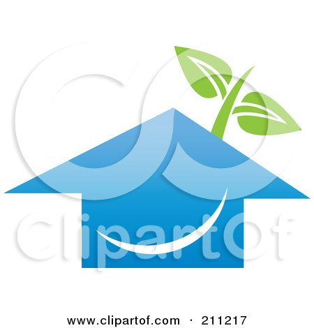 Royalty-Free (RF) Clipart Illustration of a Logo Design Of A Happy Blue House And Plant by Eugene