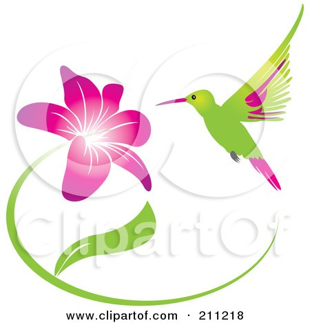 Royalty-Free (RF) Clipart Illustration of a Humming Bird And Purple Flower by Eugene