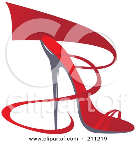 Royalty-Free (RF) Clipart Illustration of a Logo Design Of A Red Ribbon And Heel Shoe by Eugene