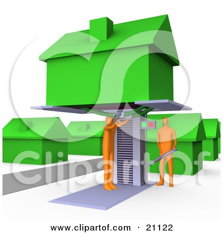 Clipart Illustration of a Two Orange Men Jacking Up A Home On A Lift And Doing Repairs Before A Family Moves In by 3poD