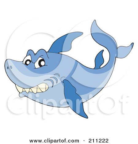 Royalty-Free (RF) Clipart Illustration of a Mean Blue Shark Swimming And Glancing At The Viewer by visekart