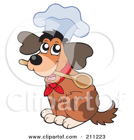 Royalty-Free (RF) Clipart Illustration of a Cute Dog Wearing A Chef Hat And Holding A Spoon In His Mouth by visekart