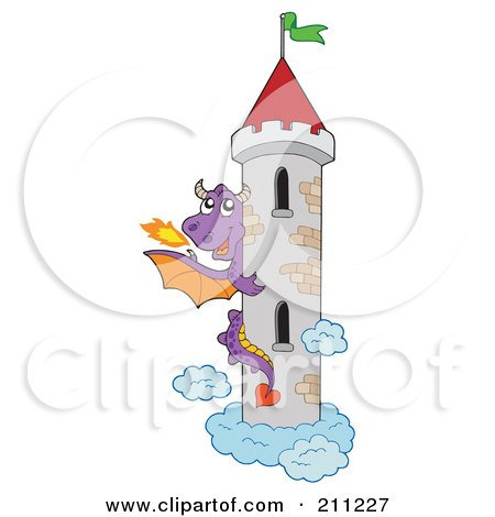 Royalty-Free (RF) Clipart Illustration of a Purple Fire Breathing Dragon Guarding A Tall Tower by visekart