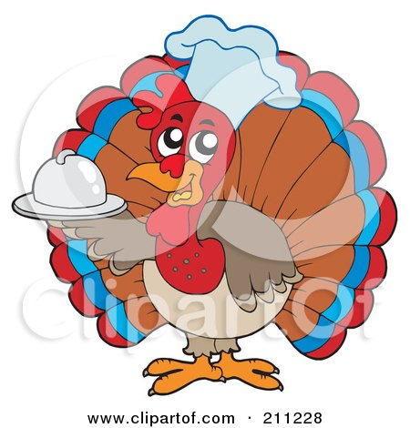 Royalty-Free (RF) Clipart Illustration of a Cute Turkey Bird Chef Holding A Small Platter by visekart