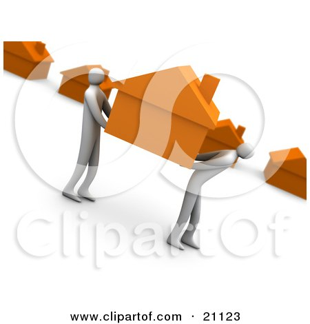 Clipart Illustration of a Two People Carrying An Orange House And Relocating To A New Neighborhood by 3poD