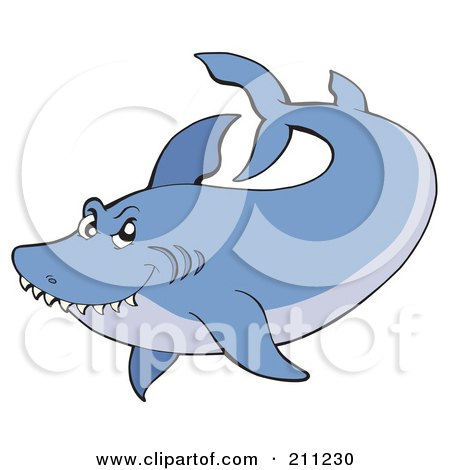 Royalty-Free (RF) Clipart Illustration of a Two Toned Blue Shark Swimming by visekart