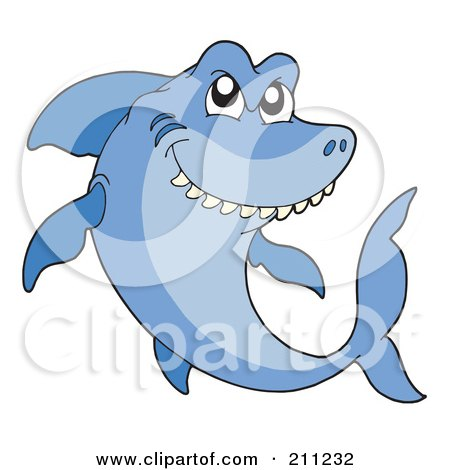 Royalty-Free (RF) Clipart Illustration of a Mean Blue Shark Swimming And Thinking by visekart