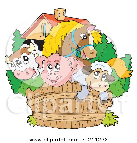 Royalty-Free (RF) Clipart Illustration of a Horse, Bull, Pig And Sheep Looking Over A Wooden Farm Fence by visekart