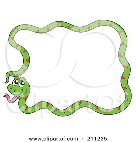 Royalty-Free (RF) Clipart Illustration of a Happy Green Snake Forming A Frame by visekart