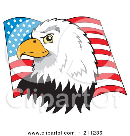 Royalty-Free (RF) Clipart Illustration of a Profiled American Bald Eagle Head Over A Flag by visekart