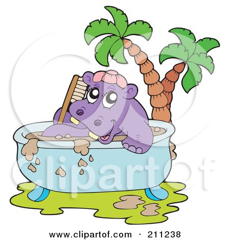 Royalty-Free (RF) Clipart Illustration of a Happy Hippo Taking A Mud Bath In A Tub by visekart