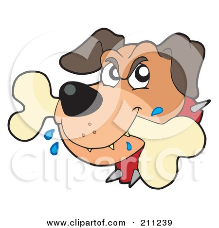 Royalty-Free (RF) Clipart Illustration of a Mad Dog Drooling On A Bone by visekart