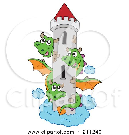 Royalty-Free (RF) Clipart Illustration of a Three Headed Green Dragon Guarding A Tall Tower by visekart