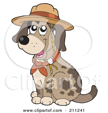 Royalty-Free (RF) Clipart Illustration of a Cute Dog Sitting And Wearing A Scout Hat by visekart