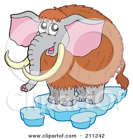 Royalty-Free (RF) Clipart Illustration of a Cute Woolly Mammoth On Ice by visekart