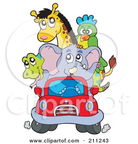Royalty-Free (RF) Clipart Illustration of a Cute Elephant Driving A Snake, Parrot And Giraffe In A Tiny Red Car by visekart