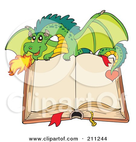 Royalty-Free (RF) Clipart Illustration of a Green Dragon Breathing Fire Over An Open Book With Blank Pages by visekart