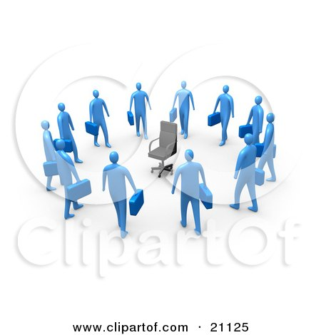 Clipart Illustration of a Circle Of Blue Businessmen Carrying Briefcases, Staring At An Empty Chair by 3poD