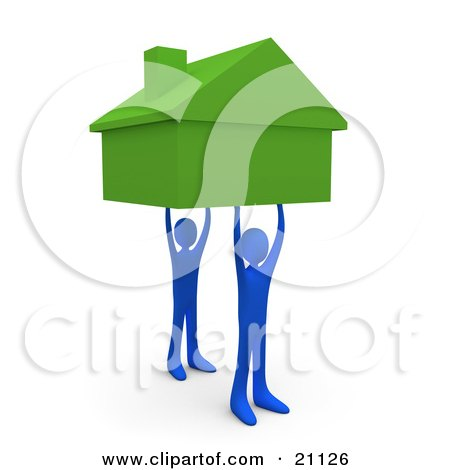 Clipart Illustration of Two Blue Men Holding Up A Green House, Symbolizing Teamwork, Strong Foundation, Support, And Strong Relationships by 3poD