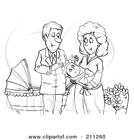 coloring page outline of a happy couple with a newborn baby posters art prints