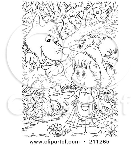 Royalty-Free (RF) Clipart Illustration of a Coloring Page Outline Of A Wolf Chatting Up Little Red Riding Hood In The Woods by Alex Bannykh