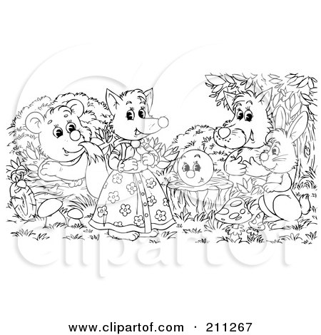 royalty free rf clipart illustration of a coloring page outline of a group of happy animals by. Black Bedroom Furniture Sets. Home Design Ideas