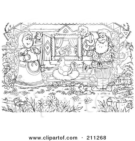 Royalty-Free (RF) Clipart Illustration of a Coloring Page Outline Of A Couple Watching A Chicken Lay An Egg by Alex Bannykh