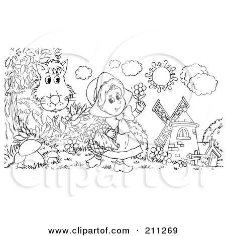 Royalty-Free (RF) Clipart Illustration of a Coloring Page Outline Of A Wolf Hiding Behind A Bush, Watching Little Red Riding Hood by Alex Bannykh