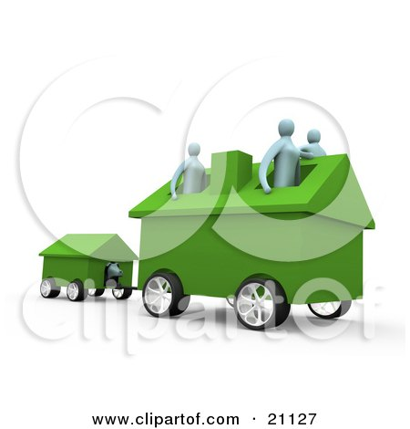 Clipart Illustration of a Relocating Family With Their Home On Wheels, Pulling Along Their Dog In The Dog House by 3poD