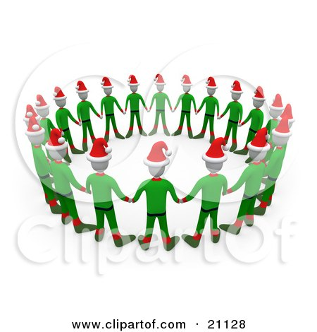Clipart Illustration of a Circle Of Christmas Elves In Green Uniforms And Santa Hats, Holding Hands by 3poD