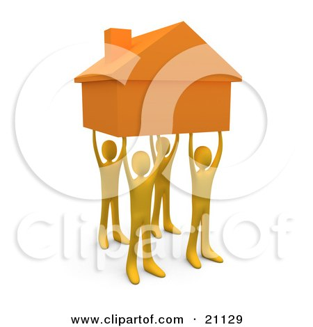 Clipart Illustration of Four Orange People Holding Up A Home, Symbolizing Teamwork, Strong Foundation, Support, And Strong Relationships by 3poD