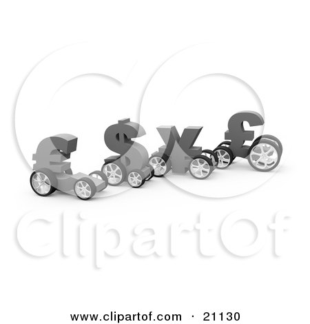 Clipart Illustration of Currency Race Cars In The Shape Of The Euro, Dollar, Yen And Pound, Ready For A Competition by 3poD