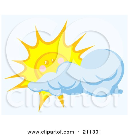 Royalty-Free (RF) Clipart Illustration of a Cloud Floating In Front Of A Happy Sun by Hit Toon