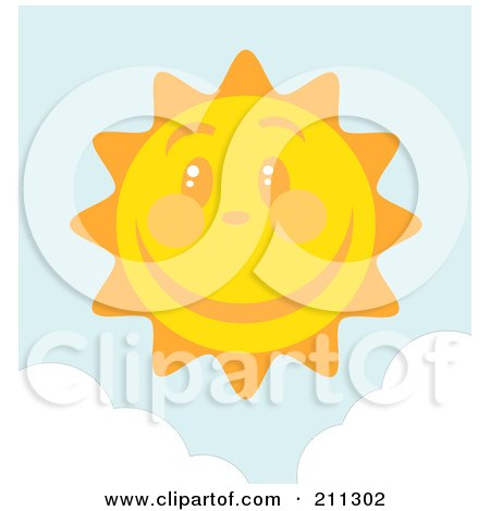 Royalty-Free (RF) Clipart Illustration of a Happy Sun Face With A Large Smile by Hit Toon