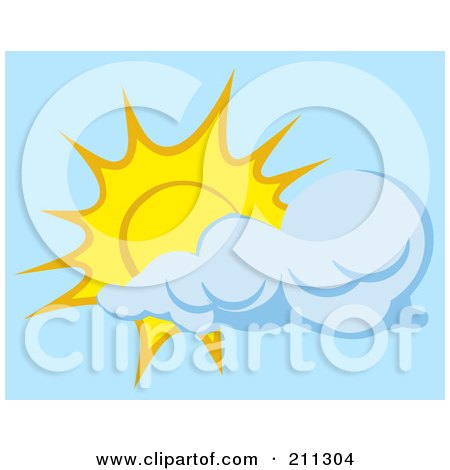 Royalty-Free (RF) Clipart Illustration of a Cloud Floating In Front Of A Sun by Hit Toon
