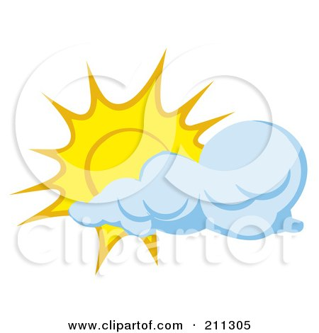 Royalty-Free (RF) Clipart Illustration of a Cloud Moving In Front Of A Sun by Hit Toon