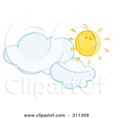 Royalty-Free (RF) Clipart Illustration of a Cloud Floating Under A Happy Sun by Hit Toon
